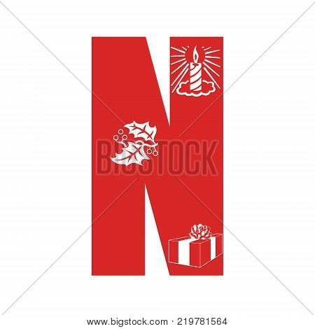 Red Christmas alphabet N with Christmas decorations