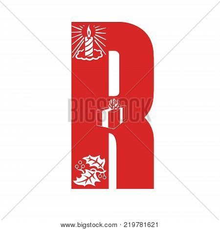 Red Christmas alphabet R with Christmas decorations