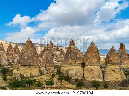Goreme national park Volcanic rocks formations fairy chimneys in Cappadocia Turkey.