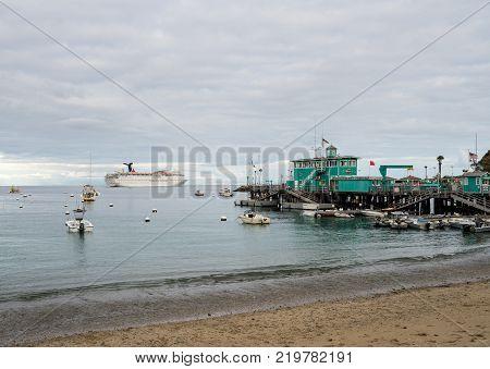 CATALINA ISLAND, CALIFORNIA - 2 NOVEMBER 2017: Carnival cruise ship anchors off Avalon on Catalina Island in California