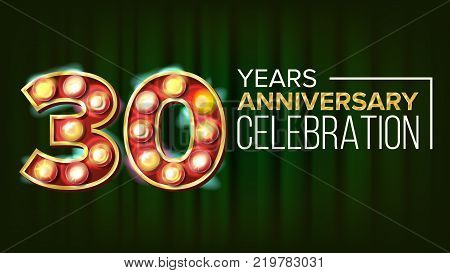 30 Years Anniversary Banner Vector. Thirty, Thirtieth Celebration. 3D Glowing Element Digits. For Invitation Card, Poster Advertising Design. Modern Background Illustration