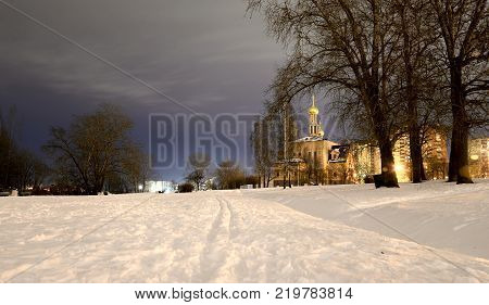 Park at winter night on the outskirts of St. Petersburg Russia.