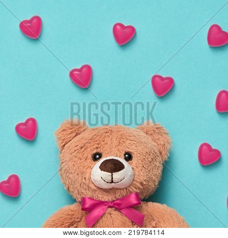 Valentines Day. Love. Teddy Bear with Candies Sweets Hearts. Minimal. Art. Cute bear on Pink hearts. Vanilla Pastel Color. Love, Fun Romantic style, Vintage