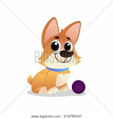Little playful corgi with ball. Cartoon dog with big shiny eyes. Cheerful pet invites to play toy. Domestic animal concept. Human s best friend. Vector illustration in flat style isolated on white.