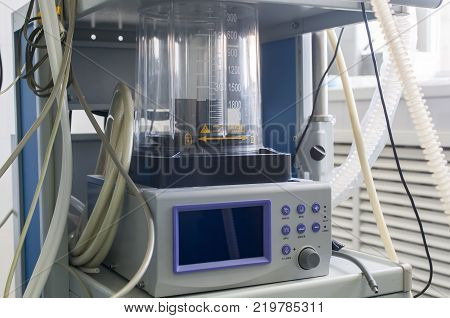 Closeup detail of a medical center hospital ventilator machine in an emergency operating room