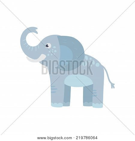 Funny blue elephant with long trunk, big ears and spots on back. Cartoon character of wild African animal. Zoo concept. Isolated flat vector design for kids print, sticker or toy store logo.