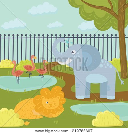 Funny cartoon animals in zoo park. Three flamingos standing in pond, elephant spraying water, lion lying on grass. Trees, bushes and fence on background. Flat vector for children book, print or poster