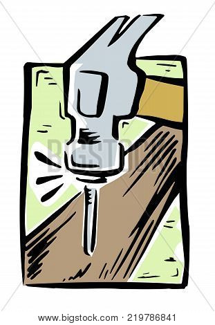 Loose illustration of a hammer striking a nail into a piece of wood
