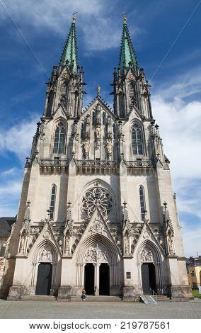 Olomouc Czech Republic - May 5 2017: Saint Wenceslas Cathedral is a gothic cathedral at Wenceslas square in Olomouc in the Czech Republic founded in 1107.