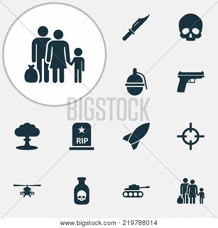 Combat icons set with rip, missile, fugitive and other target elements. Isolated vector illustration combat icons.