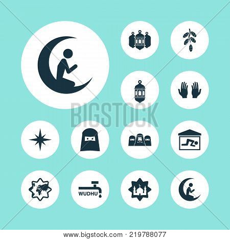 Religion icons set with man with moon, lantern, muslim and other man with moon elements. Isolated vector illustration religion icons.