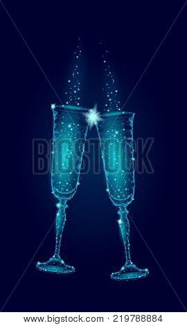 Two blue glowing glasses champagne sparkles. Happy New Year Valentine Day greeting card concept. Romantic love couple date low poly polygonal modern triangle 3d design vector illustration art
