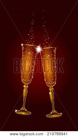 Two Golden Glowing Vector Photo Free Trial Bigstock