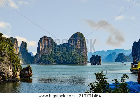 View of Halong Bay Landscape from atop a tour junk. Halong Bay Vietnam - October 2015