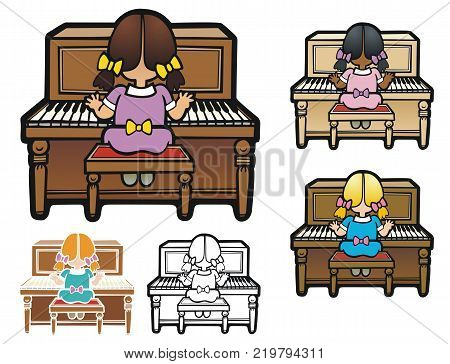 Little girl sitting at the piano. Comes with bonus, stencil, black outline, and two color variants.