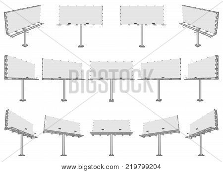 Set of different perspectives advertising construction for outdoor advertising big billboard. Vector billboard for your design.