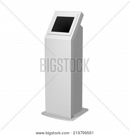 Metal payment terminal stand, ATM or display advertising, vertical white for indoor and outdoor use.