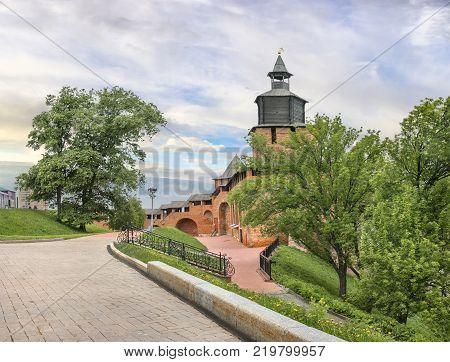 Chasovaya (Clock) tower and Severnaya (Northen) tower of the Nizhny Novgorod Kremlin. Russia