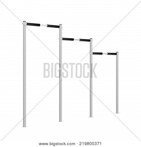 Sport Horizontal bars of different levels and classes to pull up sport exercises, isolated on white background.