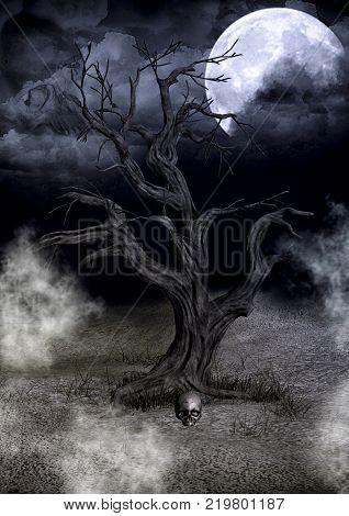 Dark creepy tree with a full moon. 3D Illustration