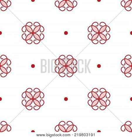 Seamless pattern of stylized red flowers and points. Traditional ornament on the white background. Vector EPS10 illustration