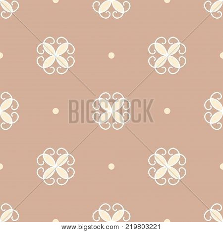 Seamless pattern. Stylized flowers and points on a pastel light brown background. Traditional ornament. Vector EPS10 illustration