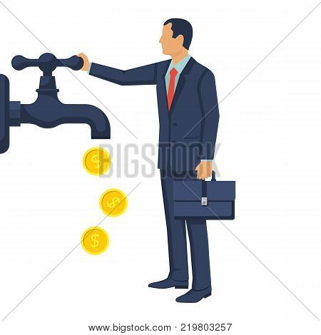 Cash flow concept. Vector illustration flat design. Isolated on white background. Businessman open water tap, gold coins fall. Catch money hand. Finance faucet. Achievement success.