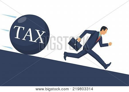 Tax concept. Businessman runs away from big tax. Financial crisis, economic depression, crash financial. Vector illustration flat design. Isolated on white background. Cartoon business people.