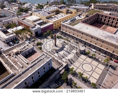 Aerial view of old San Juan, Puerto Rico and Plaza del totem.