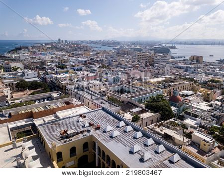 Aerial view of the old city of San Juan, Puerto Rico.