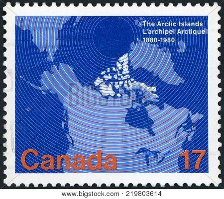 CANADA - CIRCA 1981: stamp printed by Canada, shows Map of Canada Showing Provincial, Boundaries, 1867, circa 1981