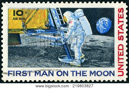 UNITED STATES - CIRCA 1969: A stamp printed in USA shows Neil Armstrong, first step on the moon, circa 1969
