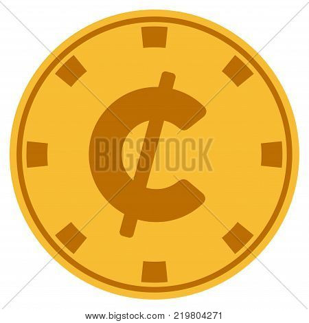 Cent golden casino chip pictograph. Vector style is a gold yellow flat gambling token symbol.
