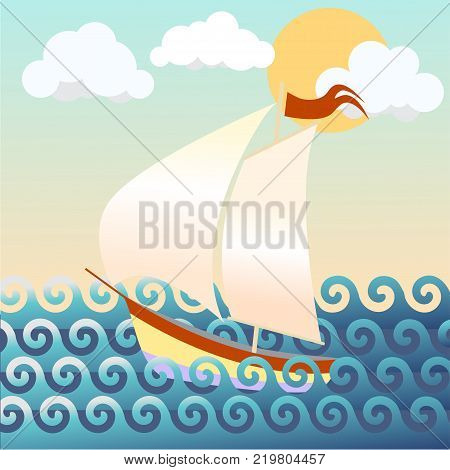 beautiful vector illustration of a ship, seascape ,waves
