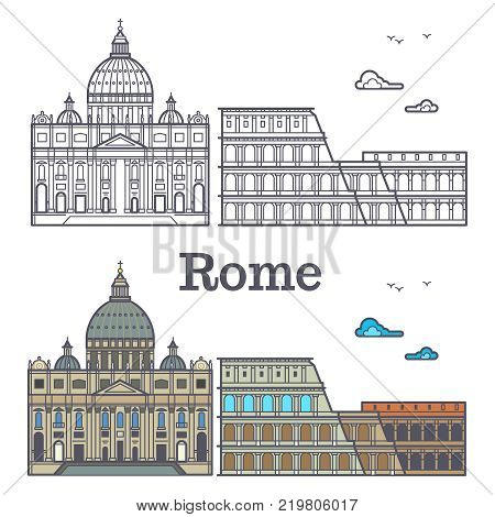Famous Rome buildings - line cathedral and coliseum. Vector illustration