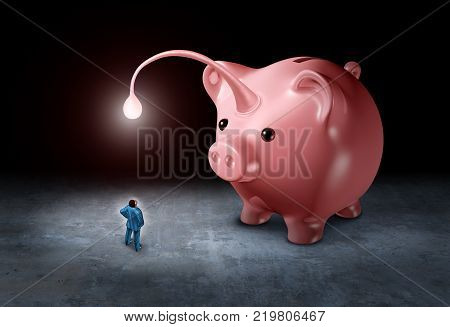 Lure an investor as a businessman being attracted by a bright light as a piggy bank shaped as an angler fish with 3d illustration elements.