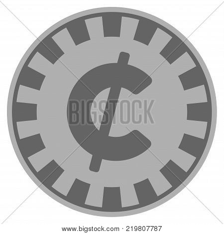 Cent grey casino chip pictogram. Vector style is a grey silver flat gamble token symbol.