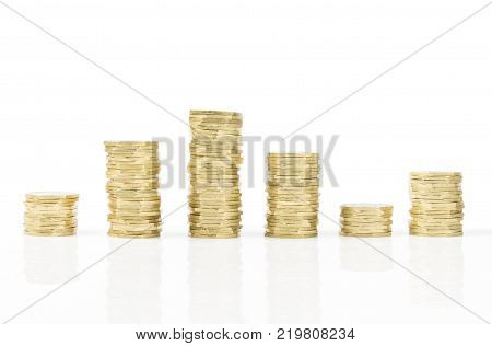 Golden Coins stack up and down scale isolated on white background