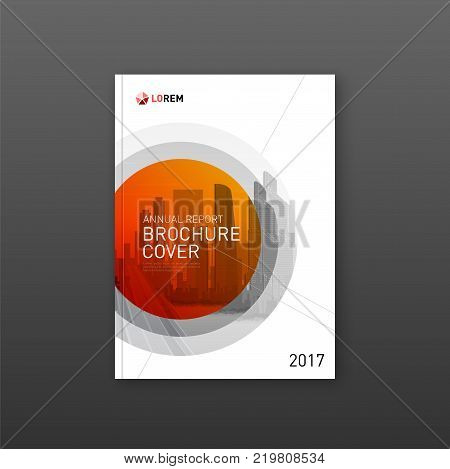 Real estate brochure cover design with cityscape. Business brochure cover design layout. Good for corporate catalog, annual report, poster or flyer.
