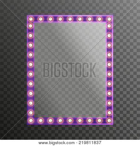 Makeup mirror with light electric bulbs isolated with gold lights transparent. Vector illustration