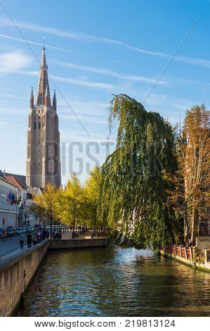 Brugge medieval historic city. Brugge streets and historic center. canals and buildings. Brugge popular touristic destination of Belgium. Belgium, Brugge, October, 01, 2014.