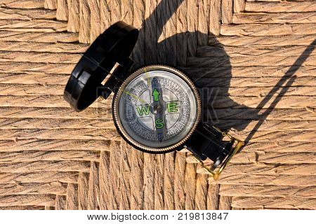 Photo Picture of a Magnetic Compass Orientation Concept