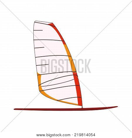 Board with clear sailing to windsurfing. Sea or river ship, flat icon. Sea and river vehicles. Isolated on white background.