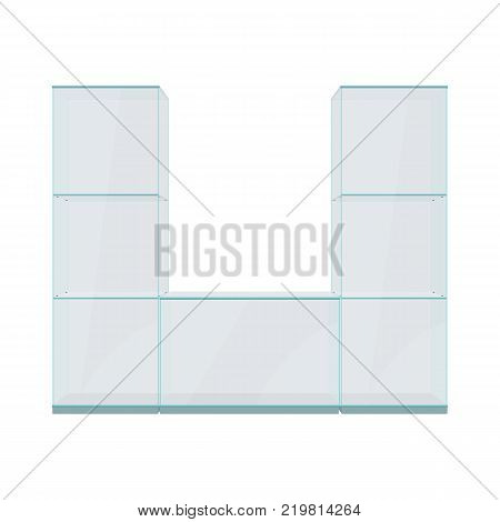 Glass showcase with shelves, isolated on a white background.