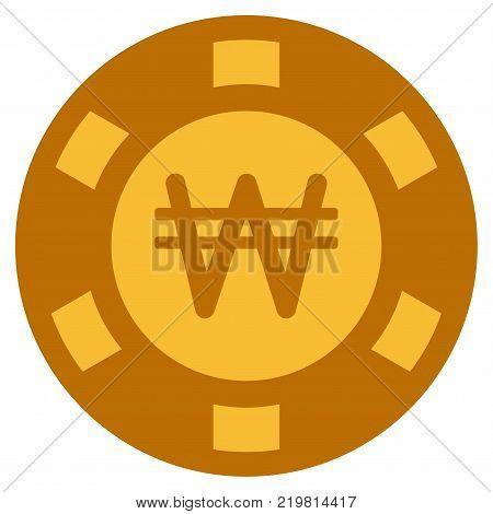 Korean Won golden casino chip icon. Vector style is a gold yellow flat gambling token symbol.