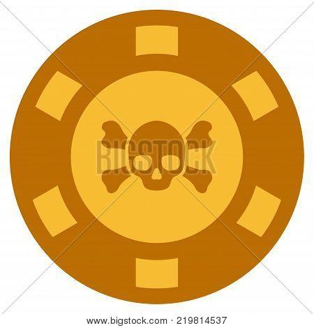 Skull Crossbones golden casino chip icon. Vector style is a gold yellow flat gambling token item.