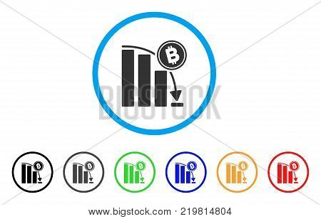 Bitcoin Epic Fail Chart rounded icon. Style is a flat grey symbol inside light blue circle with additional color variants. Bitcoin Epic Fail Chart vector designed for web and software interfaces.