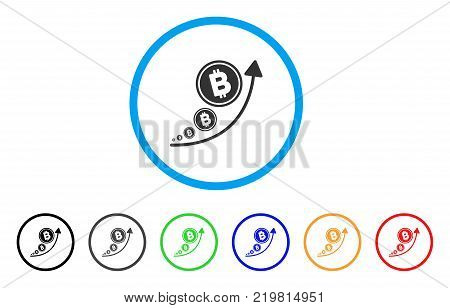Bitcoin Inflation Trend rounded icon. Style is a flat gray symbol inside light blue circle with bonus colored variants. Bitcoin Inflation Trend vector designed for web and software interfaces.