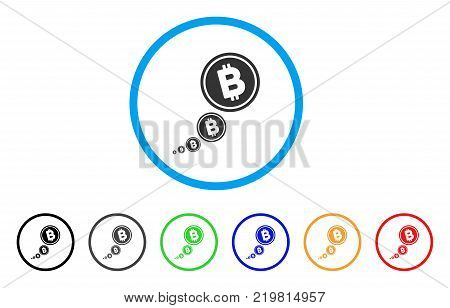 Bitcoin Inflation rounded icon. Style is a flat gray symbol inside light blue circle with bonus color versions. Bitcoin Inflation vector designed for web and software interfaces.