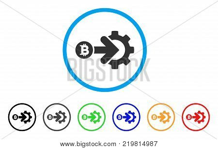 Bitcoin Integration Gear rounded icon. Style is a flat gray symbol inside light blue circle with bonus colored versions. Bitcoin Integration Gear vector designed for web and software interfaces.